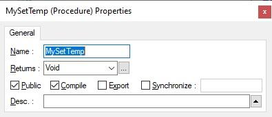 MySetTemp Procedure Properties