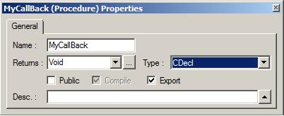 Calling DLL functions with CDECL callback function parameters