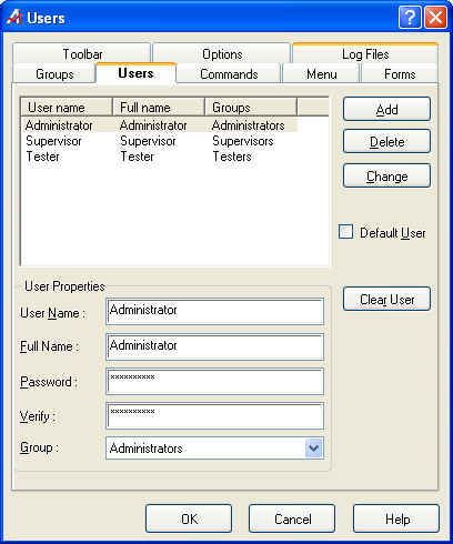 The Users Page allows the creation of new users and assignment into user groups.