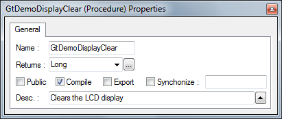 Properties Editor showing Compile Flag Checked