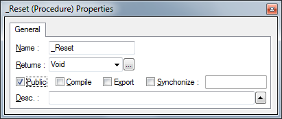 Properties Editor showing Public Flag Checked