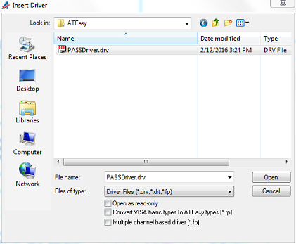Select the driver file to add to the System