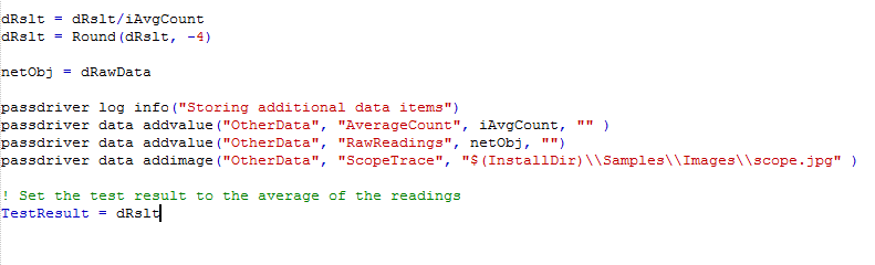 The driver commands can be used to add additional results to the test record or to log information messages to the log