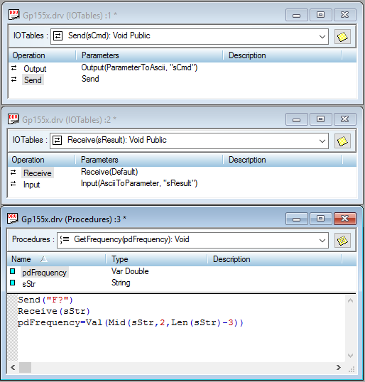 In this procedure, GetFrequency(), the IO Tables for Send and Receive are used.