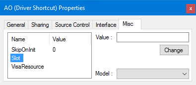The driver's Properties - Misc tab.