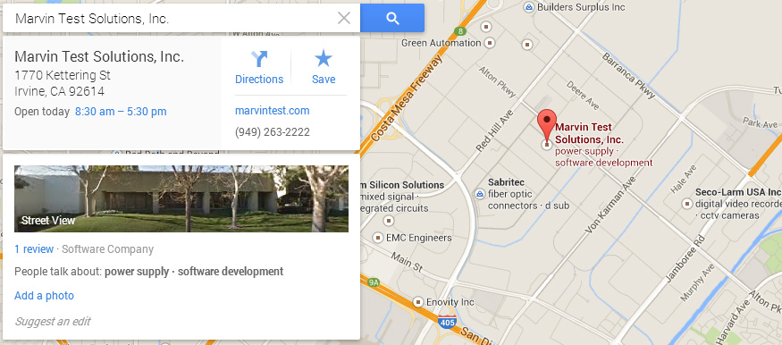 Map to Marvin Test Solutions, Inc. in Irvine, CA.