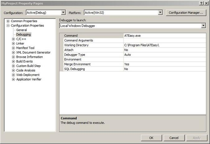 Visual Studio Debugger Property Page