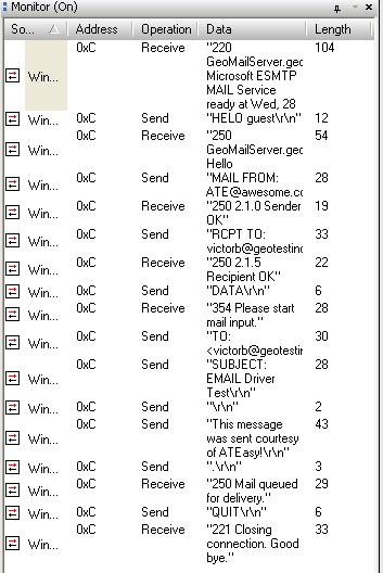 Screenshot: The monitor window after the email has been sent.