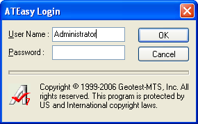 The ATEasy Login Dialog with Administrator username included.
