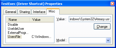 This TestExec Driver Shortcut already has the UserFile parameter set.Multi-user features are enabled.