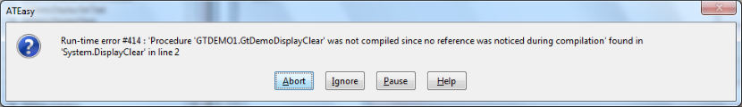 Error Dialog that displays when a referenced procedure is not compiled