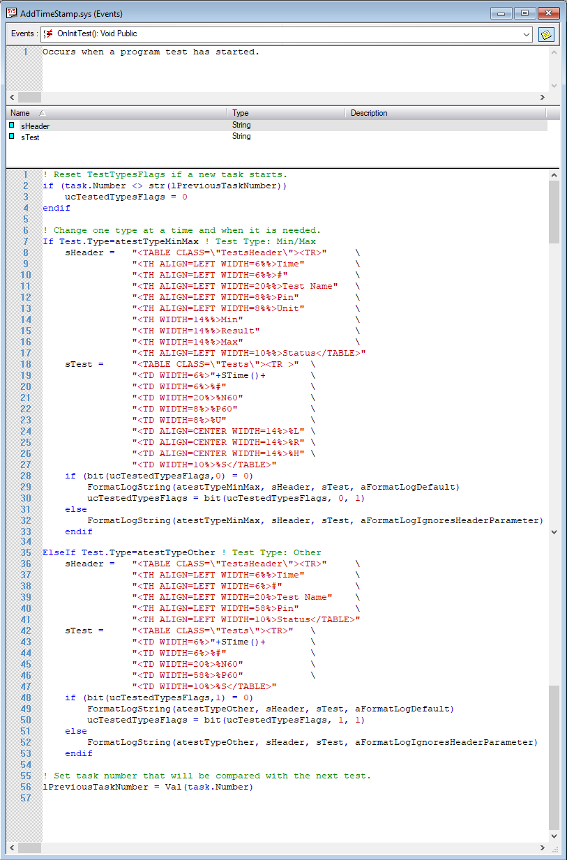 System.OnInitTest() event with Other test type modified.