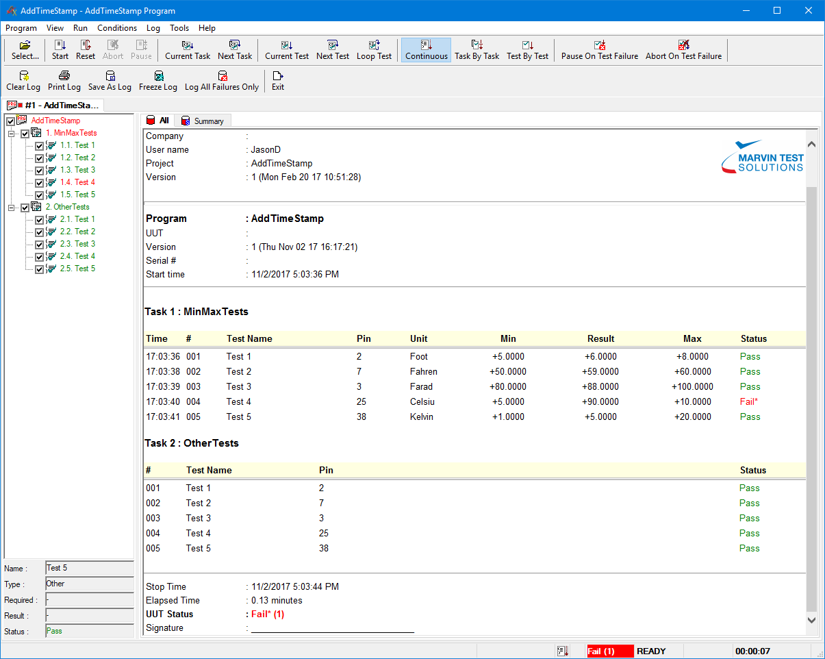 TestExec log with time-stamps for MinMax tests.