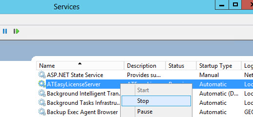 License Server - Stop Service