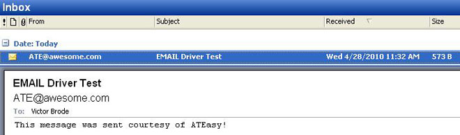 Screenshot: Received message from Outlook.