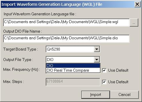 DIOEasy WGL Import Dialog