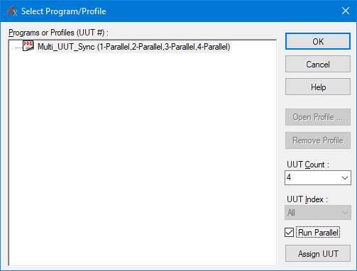 4 UUTs running in parallel mode
