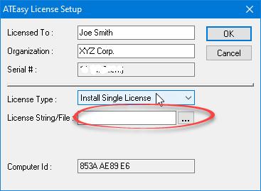 ATEasy License String