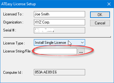 ATEasy License String