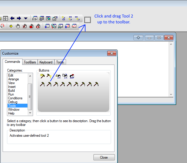Click and Drag Tool 2 to the toolbar