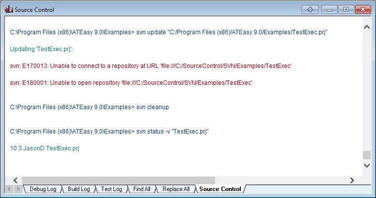 The Log window Source Control tab
