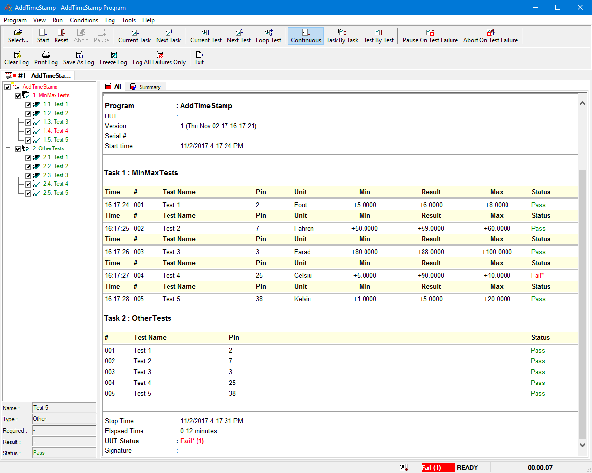 TestExec with time stamps added to Min/Max tests.