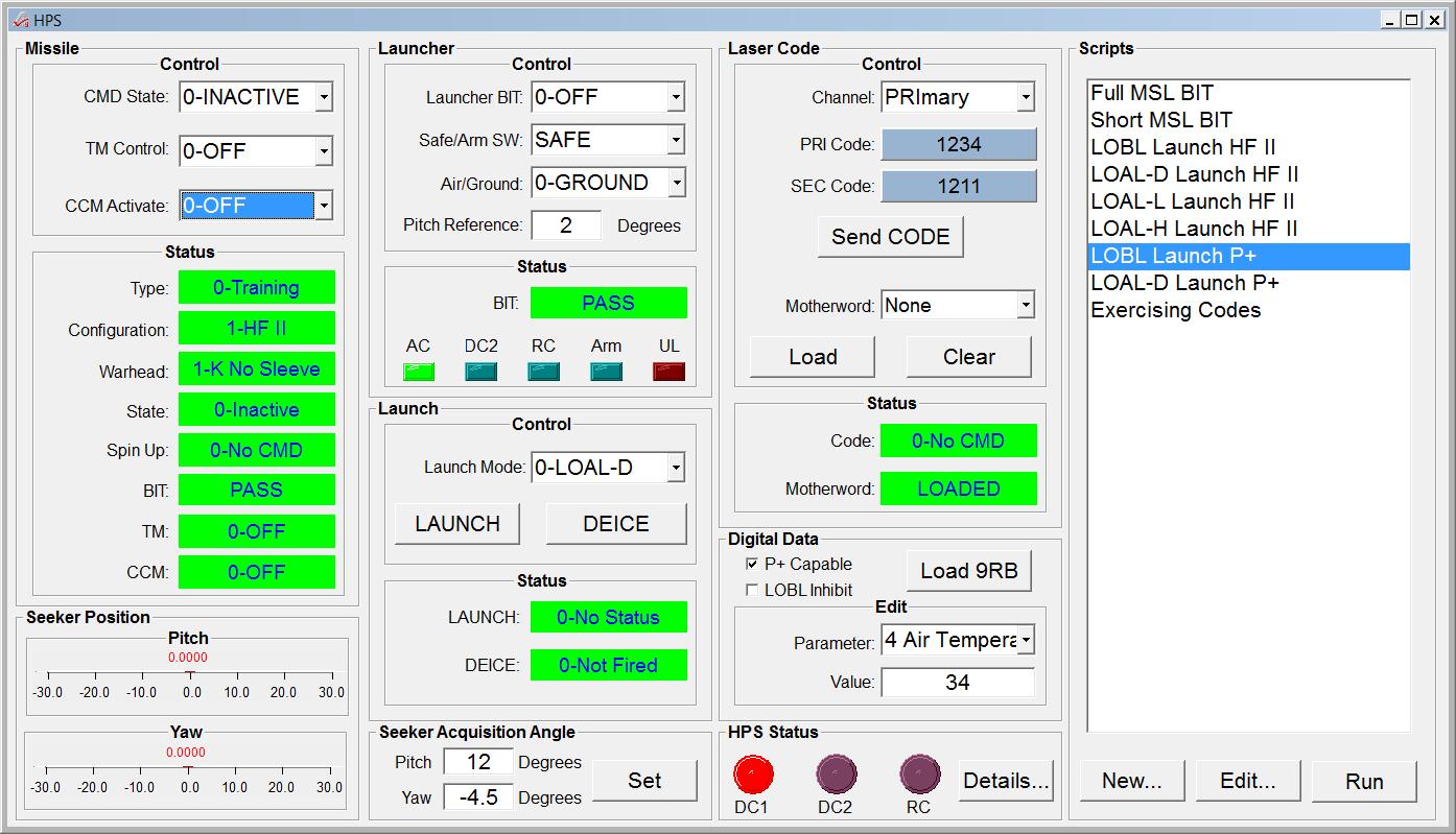 Hellfire Platform Simulator GUI